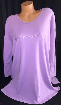 Victoria's Secret Signature Cotton V-Neck Oversized Sleepshirt Small Purple Soft #VictoriasSecret #Sleepshirt