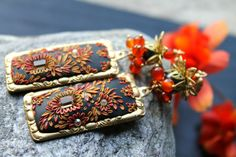 Black Red and Gold clay floral gold earrings with by Peelirohini, $79.00
