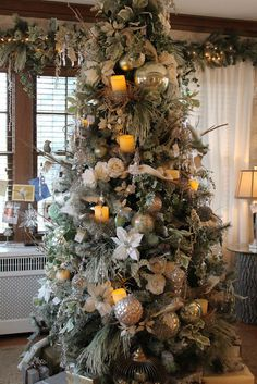 flameless candles in a gorgeous Christmas tree