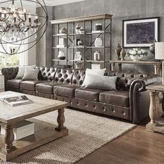 Knightsbridge Brown Bonded Leather Oversize Extra Long Tufted Chesterfield Modular Sofa by SIGNAL HILLS