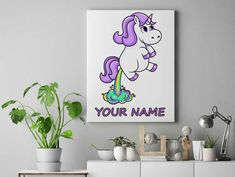 Unicorn farting rainbow Personalized unicorn canvas wall decor for kids personalised unicorn canvas ready to hang on the wall picture by funkytshirtsfactory on Etsy Father And Baby, Unicorn Wall, Christmas Stocking Fillers, Canvas Wall Decor, Baby Shirts, Cool Socks, Picture Wall, Rainbow, Cool Stuff