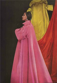 Voluminous colorful coats of the Fifties with huge turned-back cuffs.  1950'S Evening Coats.