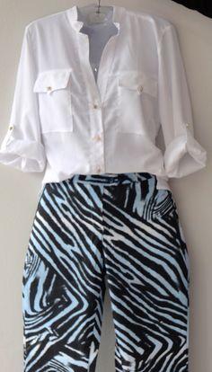 bf9cae30c18dd Camisa branca em chiffon R  e calça estampada R  Camarim