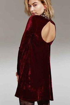 Oh My Love Velvet Open-Back Swing Dress