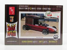 This replica of George Barris' Surf Woody plastic model car kit is made by AMT in 1/25 scale. - Build one of three ways - Stock, Street Rod, Surf Hearse - Newly tooled narrow slicks - 16 page photo bo