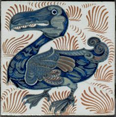 **Dodo. Wall tile. William de Morgan. Made at the turn of the 19-20th century.