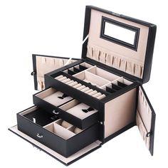 Lanscoe Jewelry Box Lockable and Travel Organizer Mirrored Jewelry Box Storage Case Gift for Women Girls