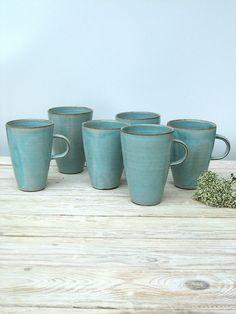 turquoise Coffee Mug Large Coffee Mug Tall Coffee by FreshPottery