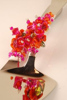 Glass flowers wedding cake server set in bright pink and tangerine orange- READY TO SHIP- by The Vintage Wedding
