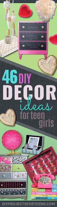 DIY Teen Room Decor Ideas for Girls | Fun Crafts and Decor For Tweens | Cool Bedroom Decor, Wall Art & Signs, Crafts, Bedding, Fun Do It Yourself Projects and Room Ideas for Small Spaces diyprojectsfortee...