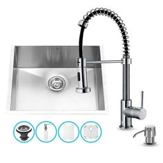 "Vigo VG15168 23"" Single Basin Undermount Kitchen Sink with VG02001 Chrome Finish Stainless Steel Fixture Kitchen Sink Combination"