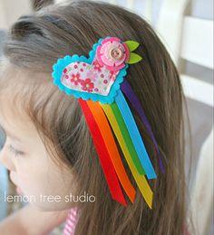 Heart Hair Pretty Chasing Rainbows Collection by LemonTreeStudio, Felt Headband, Headbands, Diy Hairstyles, Pretty Hairstyles, Ribbon Hair Clips, Ribbon Bows, Beadwork Designs, Hair Bow Tutorial, Rainbow Loom Bracelets