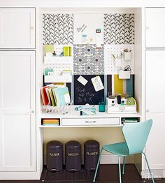 Keep clutter at bay with a multipurpose work station. This communication haven is built from a patchwork of magnet, dry-erase, chalkboard, cork, and pegboard squares behind the built-in desktop. The combination of materials ensures that messages and papers can be stored in versatile ways. Use magnetic boards to hold papers you need only temporarily, dry-erase boards and chalkboards to jot down quick messages, cork boards to stick more permanent papers on (favorite take-out menus, emergency…