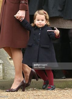 Princess Charlotte of Cambridge attend Church on Christmas Day on December 25, 2016 in Bucklebury, Berkshire.