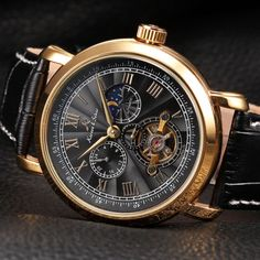 Women watch,Men watch, Automatic Watch, Luxury Watch, Steampunk Leather Mechanical Watch,Gold watch,Watches,Vintage Watch,Black Leather
