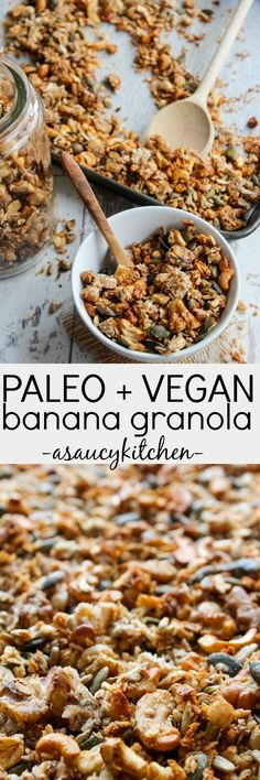 Crunchy, grain free banana granola made with mixed nuts, seeds, natural sweeteners and mashed bananas for easy homemade breakfasts and snacks on the go.