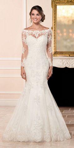 Stella York Long Sleeved Wedding Dress with Illusion Back style 6353 b / http://www.deerpearlflowers.com/stella-york-fall-2016-wedding-dresses/2/