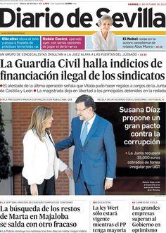 Los Titulares y Portadas de Noticias Destacadas Españolas del 11 de Octubre de 2013 del Diario De Sevilla ¿Que le pareció esta Portada de este Diario Español?