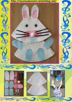 Lapin de Pâques réalisé avec des filtres à café par Gaspard