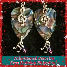 """GIFT IDEA!  For the Music Lover on Your List Our """"This Notes For You"""" Earrings for $20 Plus """"freeship""""~~GUITAR PICK Jewelry from Inlightened Jewelry Design~~Visit Our Site for More Gifts On Your List!"""