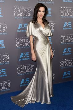 -Angelina Jolie in a metallic silver silk gown by Atelier Versace at the 20th Annual Critics' Choice Movie Awards (January 15, 2015)