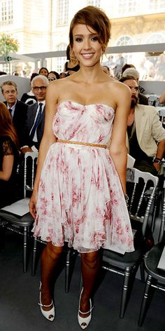 Who made Jessica Alba's floral dress and white mary jane pumps that she wore  Christian Dior Haute Couture Show in Paris July 5, 2010?
