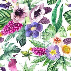 Belle Seamless Background Avec Des Fleurs Et Plantes Tropicales Sur Blanc. Composition Avec Calla Lys, Anémones Et Les Feuilles. Clip Art Libres De Droits , Vecteurs Et Illustration. Image 44308713.