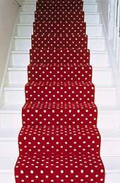 Cath Kidston red and white polka dot carpet runner. Red Dots, Polka Dots, Carpet Stairs, House Stairs, White Cottage, Cath Kidston, Picture Design, Little Red, My Favorite Color