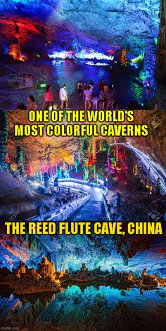"The Reed Flute Cave known as ""the Palace of Natural Arts"" according to legend got its name because people believed the reed by the cave's mouth could be made into flutes. Full of fairyland of stalactites, stalagmites, stone pillars, stone curtains, birds, plants and animals in fantastic shapes and colors is bucket list worthy. Click here for more fun outdoor tips! #camping #tent #hiking #tactical #outdoors #campingfood #fun #sleepingbag #bigtents #tactical #offthegrid #campfire #adventure"