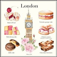 Explore Bath-based watercolor artist Enya Todd's fluid and expressive patisserie style illustrations Cake Drawing, Food Drawing, Waitrose Food, Desserts Drawing, Beaux Desserts, Jaffa Cake, Dessert Illustration, Victoria Sponge Cake, Watercolor Food