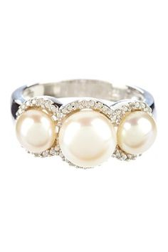 HauteLook | Fabulous Finds: Jewelry Under $99: White Cultured 10-11mm Pearl & Pave Diamond Ring - 0.08 ctw