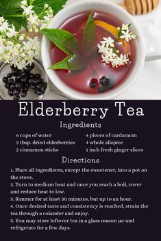 Give your body's natural defenses a boost with this delicious and natural elderberry tea recipe! Weight Loss Tea, Elderberry Tea, Elderberry Drink Recipes, Elderberry Benefits, Tea Recipes, Cooking Recipes, Healthy Drinks, Healthy Recipes, Healthy Smoothies