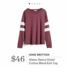 Stitch Fix: Nine Britton Mateo Sleeve Detail Cotton Blend Knit Top $46