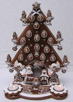 Cake Wrecks - Home - Sunday Sweets: Gorgeous Gingerbread. This gingerbread advent calendar is a fun idea: you get to eat one piece per day! Christmas Gingerbread House, Gingerbread Cake, Christmas Treats, Christmas Baking, All Things Christmas, Christmas Cookies, Christmas Holidays, Christmas Decorations, Gingerbread Houses