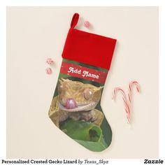 Personalized Crested Gecko Lizard Christmas Stocking Holiday Cards, Christmas Cards, Holiday Decor, Pet Christmas Stockings, Crested Gecko, Santa Claus Is Coming To Town, Christmas Animals, Christmas Card Holders, Hand Sanitizer