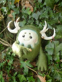 Forest Guardian Needle Felt Sculpture from Dainty Robot or cool design for fantasy monster plushie toy
