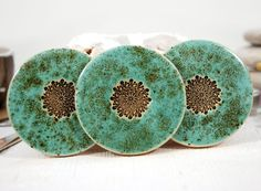 Set of 3 ceramic coasters, round turquoise coasters, tile coaster, ceramic trivet, hot pad, art tile