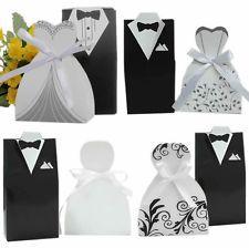100PCS Wedding Favor Candy Box Bride Groom Dress Tuxedo Party w/ Ribbon Gift New