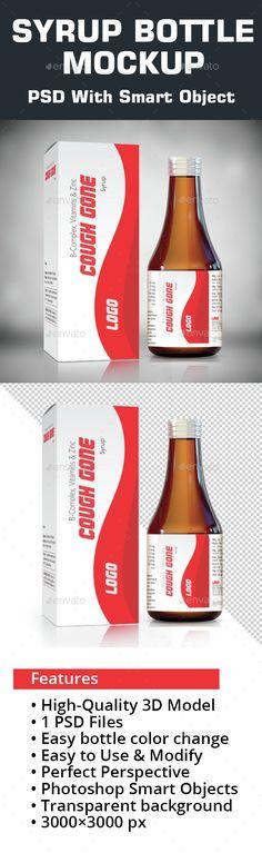 Syrup bottle Mockup — Photoshop PSD #label #mockup • Available here → https://graphicriver.net/item/syrup-bottle-mockup/14942283?ref=pxcr