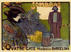 LOVELY IN LATIN vintage art poster RAMON CASAS collectors unique 24X36 RARE