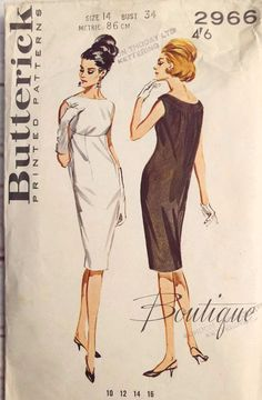Here we have Butterick 2966 sewing pattern A fabulous fitted shift dress with a feature bodice and a gathered back  A stunning vintage pattern to make a dress for a cocktail party, wedding party, mod fashion, a Mad Men inspired outfit or a revival day  The pattern has been used but it is complete and remains in good condition  The pattern pieces are printed  The vintage sewing pattern is from the 60s decade  Bust 34 inches  Free UK postage  Please find other vintage patterns here https:/...