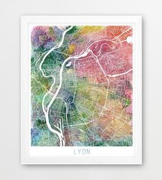 Lyon City Urban Map Poster Lyon Street Map Print Watercolor