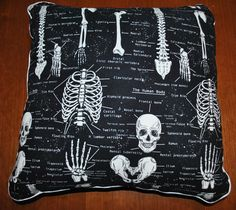 "Human Skeletal Anatomy 16"" x 16"" Throw Pillow (Osteology, Forensic Anthropology)"
