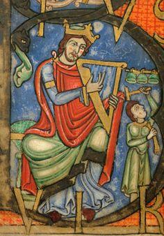 Douai - BM - ms. 0009, f. 001v Psautier à l'usage d'Anchin / David jouant de la harpe et musicien