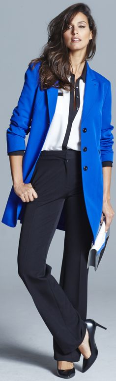 classic tailored blue jacket for plus size women…