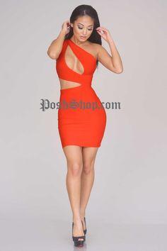 Justine Bandage Dress - Red - Clothing