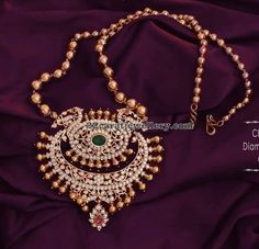 Diamond Pendant with Gold Beads Set by Swarnsri Jewellers Mom Jewelry, Jewelry Model, Simple Jewelry, Pendant Jewelry, Beaded Jewelry, Jewelery, Gold Pendant, Pearl Jewelry, Indian Wedding Jewelry
