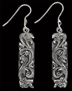 Earrings -Applied Silhouetted Scrolls - Western Jewelry
