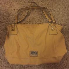 Nine West Mustard Handbag Loved Nine West Yellow Handbag. Pictures of wear on bottom Nine West Bags Shoulder Bags