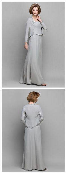 This dark grey Floor-length Long Sleeve Chiffon dress is elegant for your mom to wear on your big wedding day!